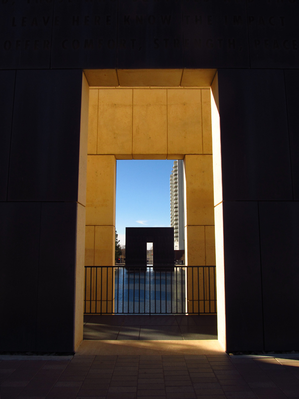 The Gates of Time, with the Reflecting Pool stretching between.
