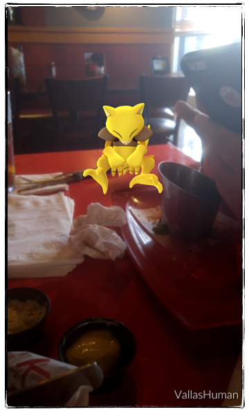A Pokemon monster hanging out at our table